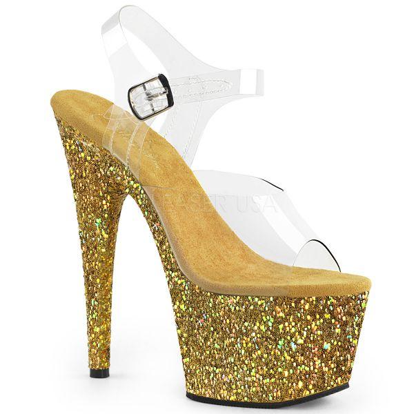 Durchsichtige Riemchen Sandalette mit gold Multi Glitter Plateau ADORE-708LG
